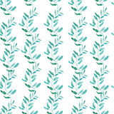 Teste padrão sem emenda com as folhas de chá verde-oliva ou verdes ilustração do vetor