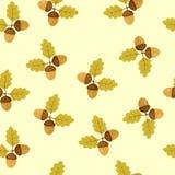Teste padrão sem emenda com as folhas de outono do carvalho e as bolotas ilustração do vetor