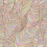 Teste padrão sem emenda com as folhas lineares abstratas nas cores pastel Foto de Stock