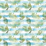 Teste padrão sem emenda com as folhas tropicais da aquarela na parte traseira listrada Fotografia de Stock Royalty Free