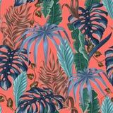Teste padrão sem emenda com as folhas tropicais da banana, da palma e do monstera para o projeto da tela no fundo coral de vida ilustração stock