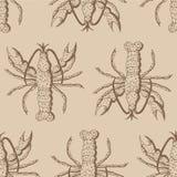 Teste padrão sem emenda com as lagostas no fundo bege Ilustração Stock