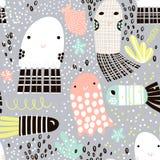 Teste padrão sem emenda com as medusas de animal de mar, peixes Textura criançola submarina para a tela, matéria têxtil Fundo do  Foto de Stock Royalty Free