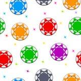 Teste padrão sem emenda com as microplaquetas de pôquer das cores Fotografia de Stock