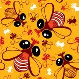 Teste padrão sem emenda com as moscas engraçadas dos desenhos animados Fotografia de Stock Royalty Free
