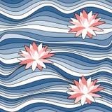 Teste padrão sem emenda com as ondas em tons azuis e em lírios de água cor-de-rosa ilustração do vetor