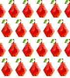 Teste padrão sem emenda com as peras poligonais vermelhas em um fundo branco estilo 8bit liso imagem de stock