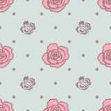 Teste padrão sem emenda com as rosas cor-de-rosa e azuis na luz - fundo azul Foto de Stock Royalty Free