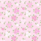 Teste padrão sem emenda com as rosas cor-de-rosa e brancas. ilustração stock