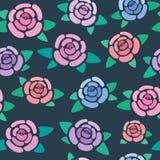 Teste padrão sem emenda com as rosas no estilizado escuro do fundo, o agradável e o simples, flores, papel de parede do vetor imagens de stock