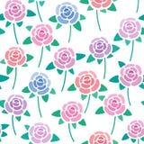 Teste padrão sem emenda com as rosas sem tido estilizado do fundo, o agradável e o simples, flores, papel de parede do vetor foto de stock royalty free