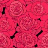 Teste padrão sem emenda com as rosas vermelhas no fundo preto Vecto conservado em estoque Foto de Stock