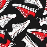 Teste padrão sem emenda com as sapatilhas vermelhas e brancas Foto de Stock Royalty Free