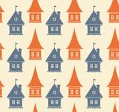 Teste padrão sem emenda com as silhuetas diferentes das casas. Fundo geométrico simples da cidade. Textura da arquitetura da cidad ilustração do vetor