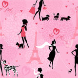 Teste padrão sem emenda com as silhuetas pretas de meninas elegantes Fotografia de Stock Royalty Free