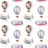 Teste padrão sem emenda com balões de ar, dirigível e o plano nas cores pastel ilustração do vetor