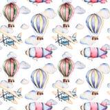Teste padrão sem emenda com balões de ar, dirigível, nuvens e o plano nas cores pastel ilustração do vetor