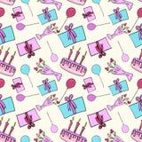 Teste padrão sem emenda com balões do bolo, presentes, teste padrão do aniversário, colorido ilustração do vetor