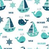 Teste padrão sem emenda com baleias, navios de navigação e rotulação ilustração royalty free