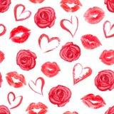 Teste padrão sem emenda com beijos das rosas, dos corações e dos bordos do traço ilustração royalty free