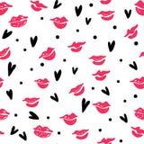 Teste padrão sem emenda com beijos do batom ilustração do vetor