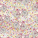 Teste padrão sem emenda com bicicleta do Natal e caixa de presente Fotografia de Stock