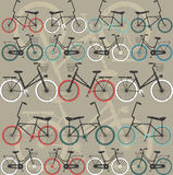 Teste padrão sem emenda com bicicletas retros Fotos de Stock