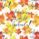 Teste padrão sem emenda com boa vinda do texto de volta à escola e às folhas caídas no branco ilustração royalty free