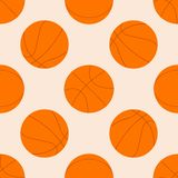 Teste padrão sem emenda com bola do basquetebol Ilustração do vetor Ideal para o papel de parede, tampa, envoltório, empacotando, ilustração royalty free