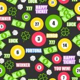 Teste padrão sem emenda com bolas de jogo, dinheiro, ouro, inteligente e ossos para a loteria ilustração stock