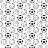Teste padrão sem emenda com bolas do esporte Ilustração do vetor Foto de Stock Royalty Free