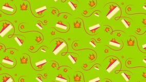 Teste padrão sem emenda com bolo de queijo e physalis Imagem de Stock Royalty Free