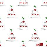 Teste padrão sem emenda com bolos Fotos de Stock Royalty Free