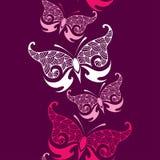 Teste padrão sem emenda com a borboleta decorativa no rosa Imagens de Stock Royalty Free