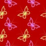 Teste padrão sem emenda com borboletas Fundo vermelho Imagens de Stock Royalty Free