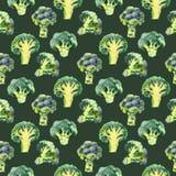 Teste padrão sem emenda com brócolis Ilustração da aguarela Fundo do alimento ilustração do vetor