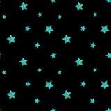 Teste padrão sem emenda com brilho azul as estrelas textured Vetor Fotografia de Stock Royalty Free