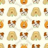 Teste padrão sem emenda com cães bonitos Ilustração do vetor com cachorrinhos engraçados Fotografia de Stock