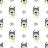Teste padrão sem emenda com cães bonitos Ilustração do vetor com cachorrinhos engraçados Imagens de Stock