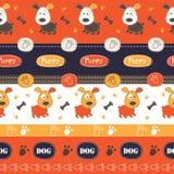Teste padrão sem emenda com cães, patas, ossos e rotulação Fotos de Stock Royalty Free