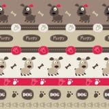 Teste padrão sem emenda com cães, patas, ossos e rotulação Foto de Stock