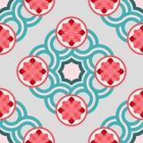 Teste padrão sem emenda com círculos do cruzamento e as rosetas florais Foto de Stock Royalty Free