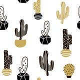 Teste padrão sem emenda com cactos e texturas tiradas mão Aperfeiçoe para a tela, matéria têxtil Fundo creativo do vetor Fotografia de Stock