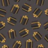 Teste padrão sem emenda com caixas de presente pretas Caixas do presente de aniversário com curva da fita do ouro Imagem de Stock Royalty Free