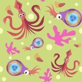Teste padrão sem emenda com calamar, nautilus e coral ilustração stock