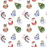 Teste padrão sem emenda com caráteres engraçados do Natal ilustração royalty free