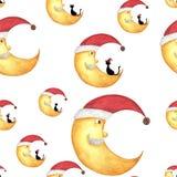 Teste padrão sem emenda com a cara de meia lua do Natal com gato preto ilustração royalty free