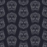 Teste padrão sem emenda com cara do lobo ilustração royalty free