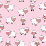 Teste padrão sem emenda com carneiros bonitos Imagens de Stock Royalty Free