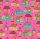 Teste padrão sem emenda com casas decorativas. Parte traseira da cidade ilustração do vetor